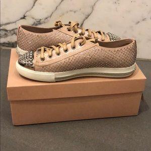 Miu Miu Crystal Encrusted Sneakers